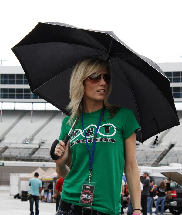 Rain or shine, Katie is always ready to go!